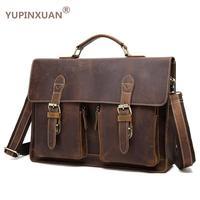 YUPINXUAN Vintage Crazy Horse Briefcases Men Genuine Leather Messenger Bags 14 Laptop Handbags Cow Leather Business
