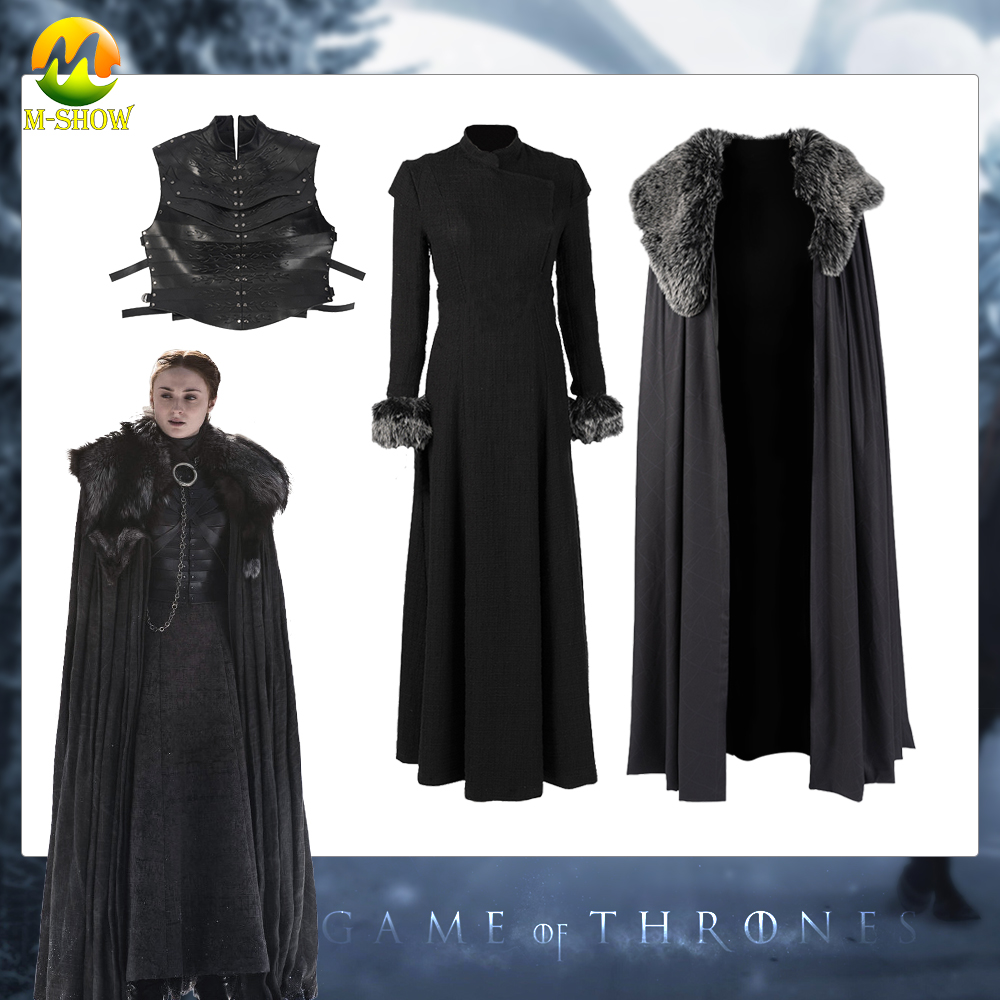 Game Of Thrones Season 8 Sansa Stark Cosplay Long Party Dress Cloak Costume Accessories For Halloween Custom Size