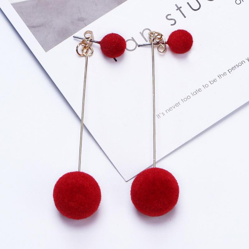 Korean Sweet Simple Earrings Different Size Bobo Plush Ball Long Earrings For Women Temperament Fashion Jewelry Earring Brincos