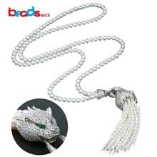 Beadsnice new freshwater pearl necklace women luxury 925 silver leopard head tassel pendant long necklace for her ID30108
