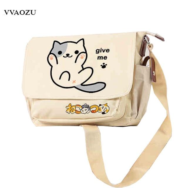 Neko Atsume Cat Anime Shoulder Bag Oxford Cartoon Cute 8 Styles Messenger  Bags Lolita Schoolbag Give Me Five Gift 701e23f0e7670