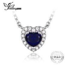 JewelryPalace Corazón Del Océano 0.6ct Creado Azul Zafiro Collar 45 cm Cadena de Plata de Ley 925 Colgante con Solitario 2016