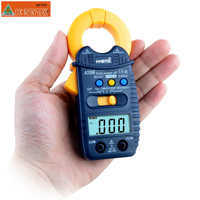HONEYTEK A3399 Mini Digital Clamp Multimeter Meter Tester Current AC/DC Voltage Resistance Capacitance Frequency Tester Detectio