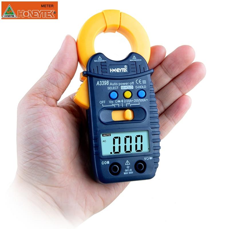 HONEYTEK A3399 Mini Digital Clamp Multimeter Meter Tester Current AC/DC Voltage Resistance Capacitance Frequency Tester Detectio