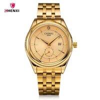 Luxury Brand CHENXI Quartz Wrist Watch Men S Date Day Dispay Men S Watches Gold Stainless