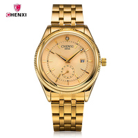 Luxury Brand CHENXI Quartz Wrist Watch Men S Date Day Dispay Men S Watches Gold Stainless