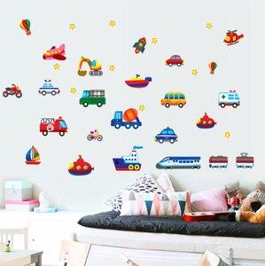 Image 3 - Creative Car Airplane Cartoon Vehicle Wall Stickers Childrens Room Kindergarten Decoration Stickers DIY Wall Sticker