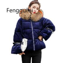 2019 Korean Simple Winter Big Fur Collar Coat Women Thick Warm Cotton Padded Parkas Gold velvet Jacket Collection