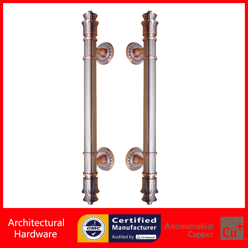 Entrance Door Handle Antique Copper Luxurious Gate Pull Handles PA-827-38*600mm For Glass/Wooden/Frame Doors antimicrobial black solid nylon offset door pull handle for entrance glass wooden metal frame doors pa 797