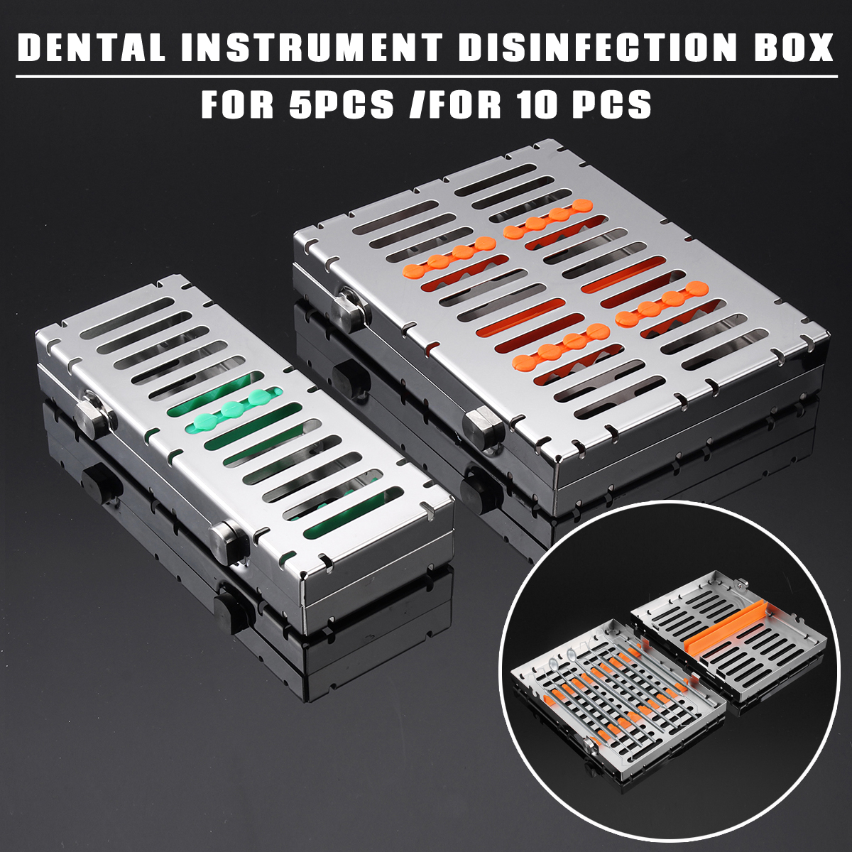 Stainless Steel Dental Sterilization Cassette Rack Tray Stand Autoclavebale Disinfection Holder For 5/10pc Surgical Instrument