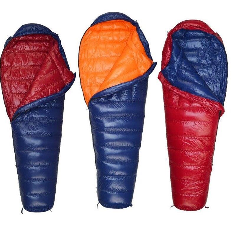 Winter Sleeping Bag Mummy Duck Down Fill 400g 600g 800g 1000g Light Outdoor Sleeping Bags For Camping Hiking Down Bag Euipment