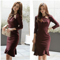 2017 Spring  Women Dress Office Bandage Vintage Bodycon Purplish Red Vestidos Party Dresses Plus Size Sexy Slim Mermaid dress