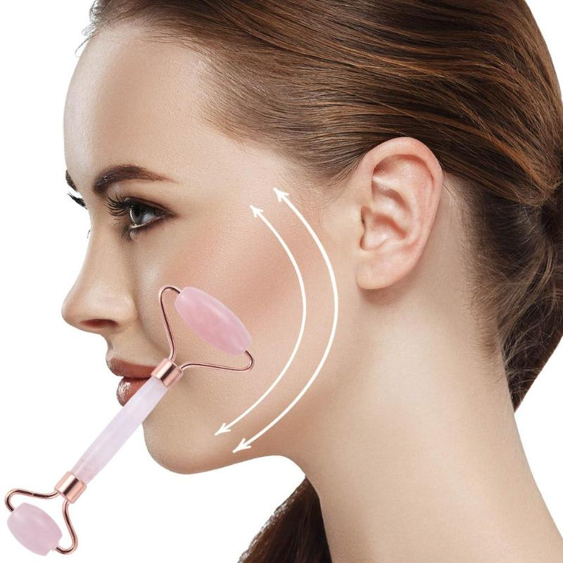 Rose Quartz Face Massage Roller Double Head Slimming Face Massager Lifting Tool Face Anti Wrinkle Removal Massage Roller