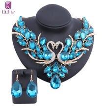 Модный Синий Кристалл Свадебный комплект ювелирных изделий двойной