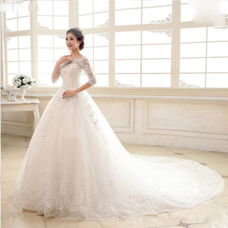 Image 4 - Luxury 2018 New Winter Sexy Boat Neck Half Sleeve Wedding Dress 80cm Tail Prinecess Wedding Gown Vestido De Noiva Tull Sequined-in Wedding Dresses from Weddings & Events