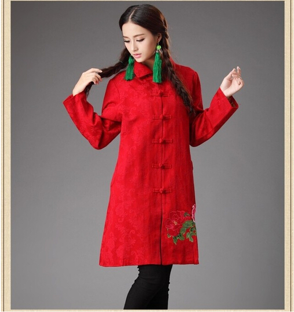 Winter chineses tyle retro frog fish and flower embroidery cotton padded coat folk style thick overcoat shell dust coat
