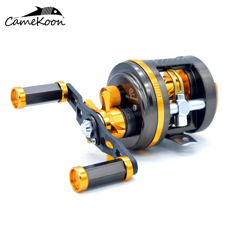 CAMEKOON Round Baitcasting Fishing Reel 6.4:1 Gear Ratio Right Hand Cast Drum Wheel цена