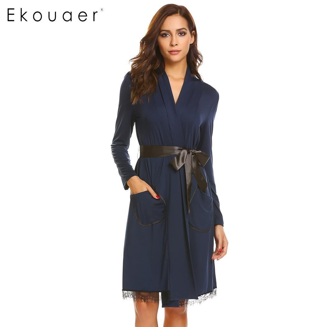 Women robes nightwear lace-trimmed long sleeve pockets kimono sleepwear robes elegant bathroom spa robe female homewear