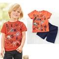 Мальчик одежда детская одежда набор Мальчика костюм хлопок динозавр печати ребенок с коротким рукавом T-рубашки + случайные шорты