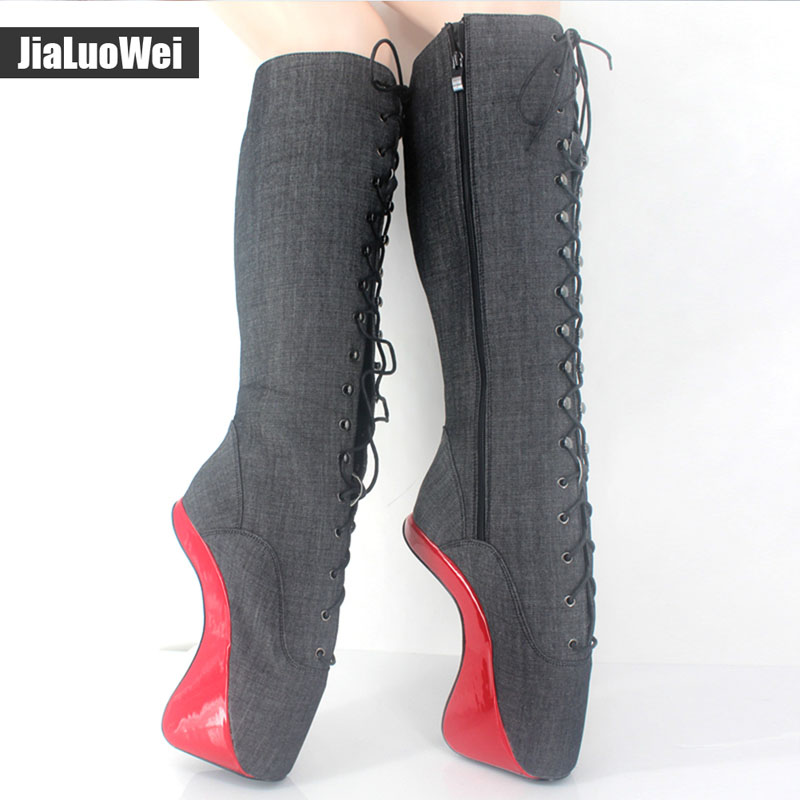 Jialuowei 18cm/7 High Heel Heelless Hoof Sole Boots Women Fashion Sexy Fetish Leather Patent Lace-Up Knee-High Ballet Boots jialuowei women sexy fashion shoes lace up knee high thin high heel platform thigh high boots pointed stiletto zip leather boots