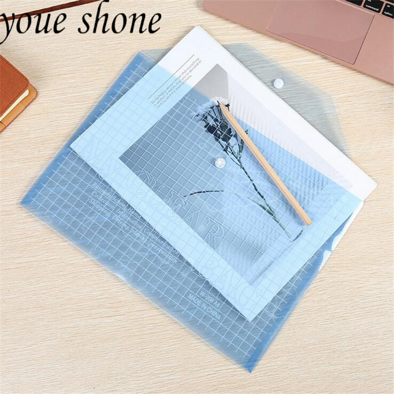 1pcs/32.5*23.5CM File Bag PP Material Button Elastic Closure A4 Folder Transparent Office Document Durable Briefcase Bags Data