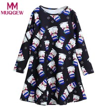 a3c92a7c5c6b4 (Ship from US) Hot 2018 Girls Baby Dress Xmas Long Sleeve Snowman Print  Swing Dress Children Clothing Costume Xmas Kids Party Dresses