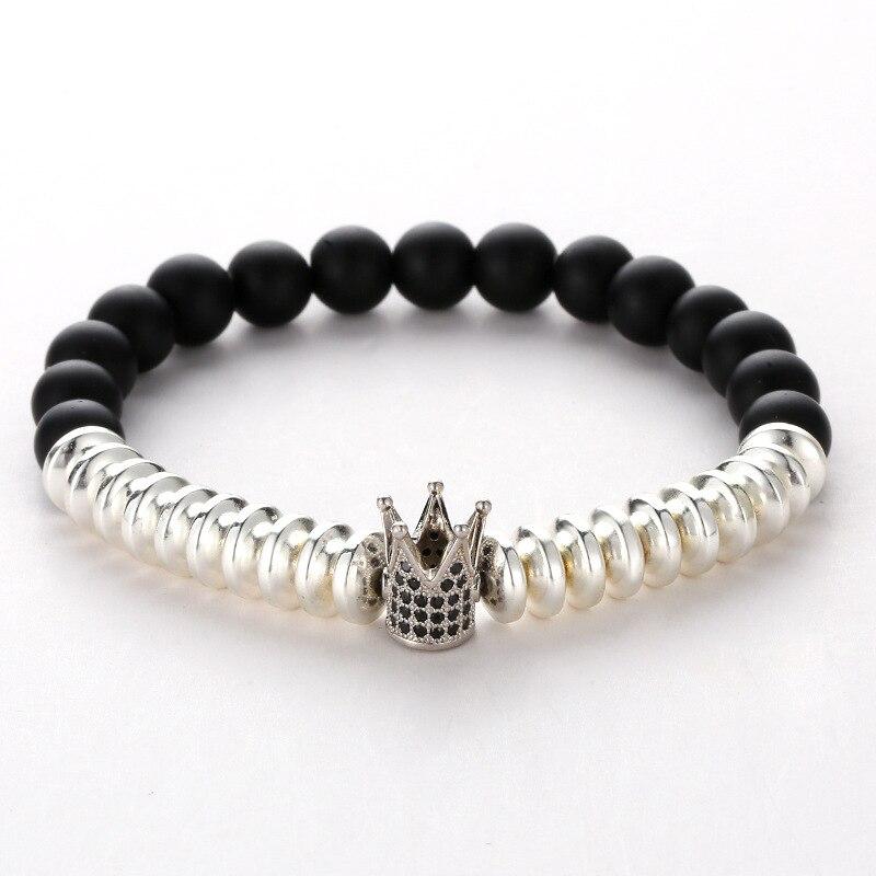 New Fashion Charm Multicolor Black Natural Stone Bracelet Black Scrub Micro Zircon Crown Bracelet For Women Mens Bracelets 2019 in Charm Bracelets from Jewelry Accessories