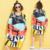 Patrón de Impresión Ocasional de La Manera más el Tamaño de Otoño de Las Mujeres Camiseta de Rayas Largo Femenino Nuevo Remiendo Del Color de Gran Tamaño Tops y Camisetas 4XL Vestido