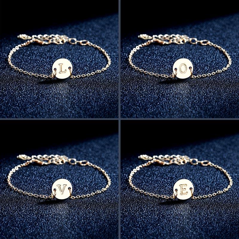 2019 Fashion Women's Bracelets Gold Colour Adjustable Metal Letters Romantic Round Bracelet Lovers Gift Party Jewelry Wholesale 3