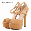 LOSLANDIFEN Alta Qualidade Da Moda Roma Estilo Mulheres Bombas Sexy Plataforma Salto Alto Sapatos Bombas Sapatos de Senhora 817-8Suede