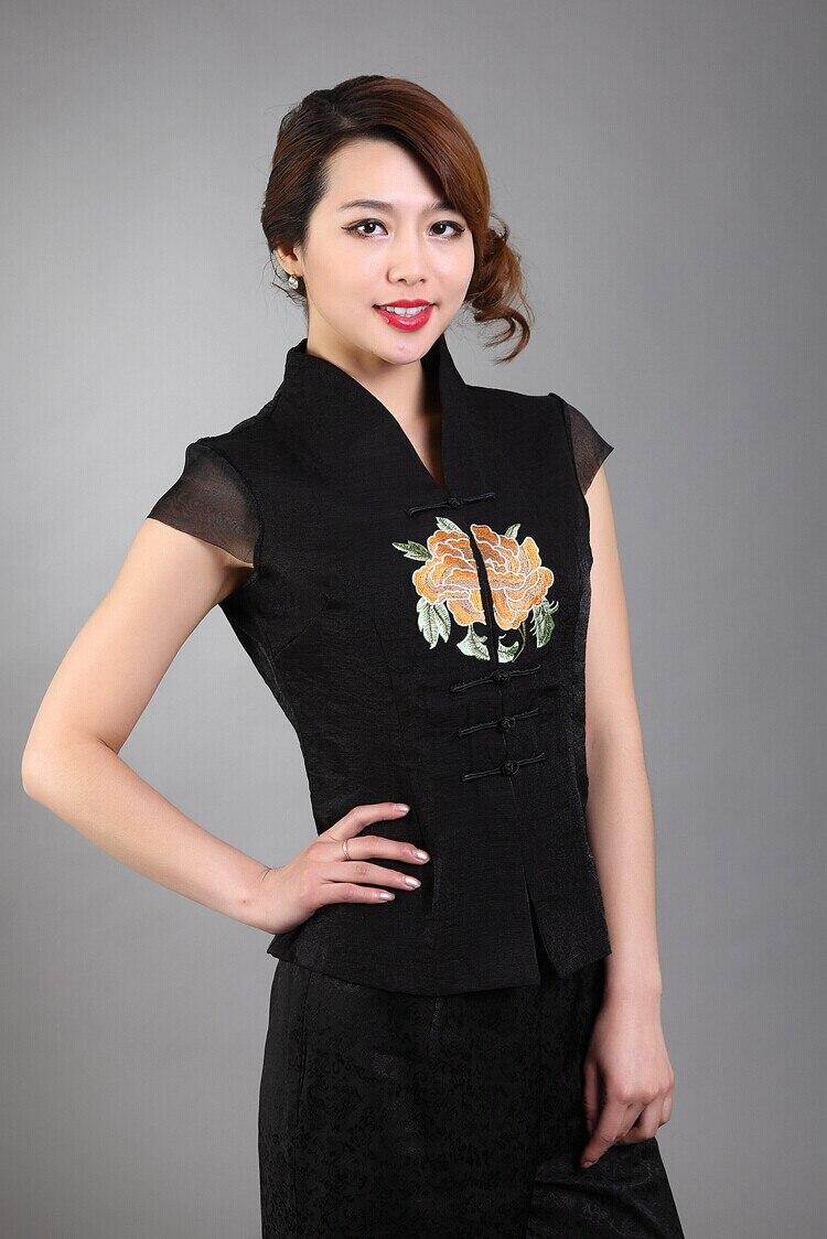 Moda señora blusa del nuevo del verano estilo tradición china de top negro YF703