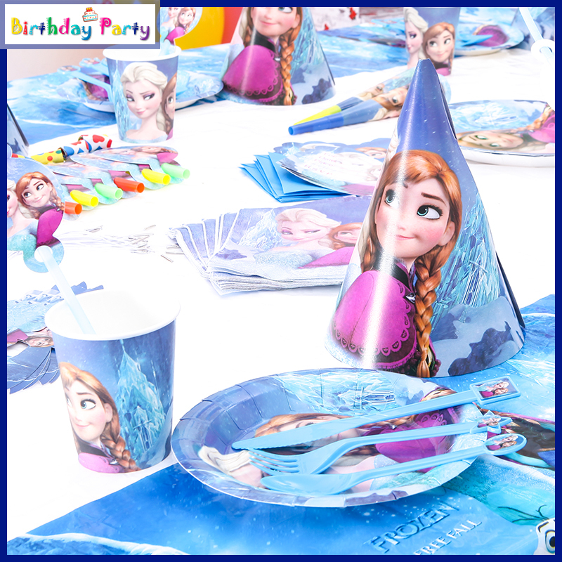 90 Pcs Famous Cartoon Characters Snow Queen Theme Birthday Party