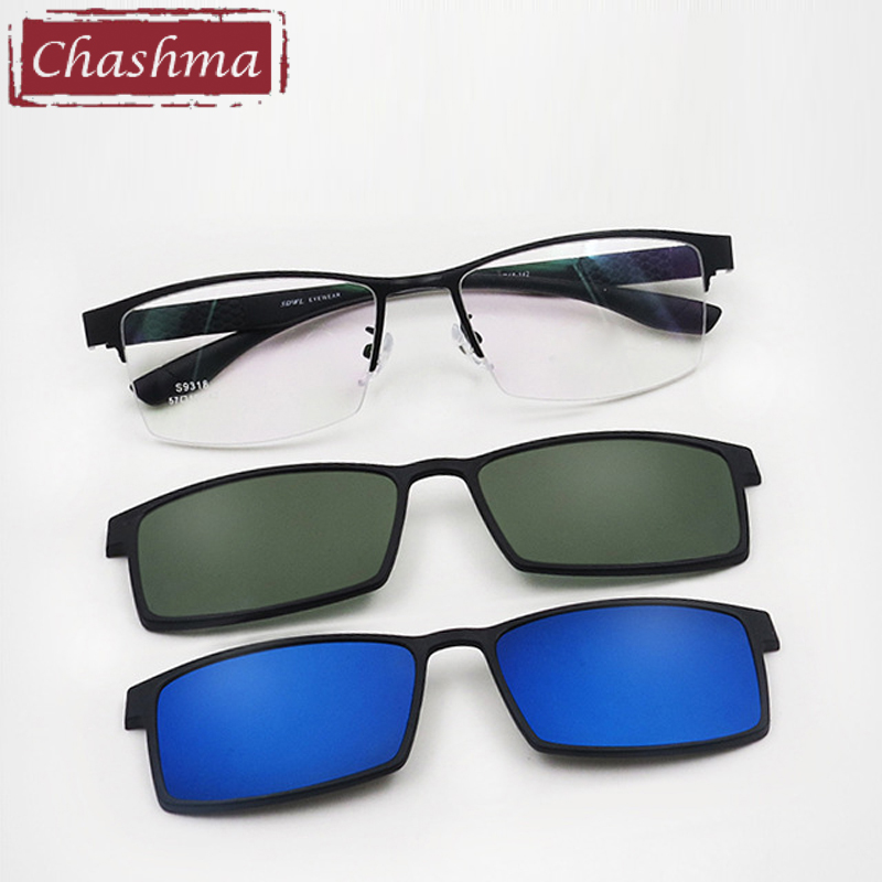 Large Size Prescription Glasses Frame Men Sunglasses Clips Lenses Magnet Eyewear For Recipe Half Frame 2 Clips Spectacles 145