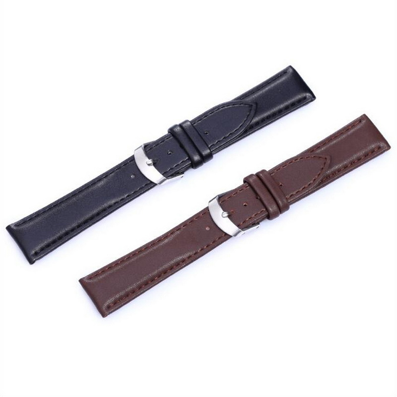 neway Genuine Leather Watch Band Wrist Strap 12 14 16mm 18mm 20mm 22mm 24mm Steel Buckle Replacement Bracelet Belt Black Brown leather watch band wrist strap 16mm 18mm 20mm 22mm 24mm rose gold butterfly clasp buckle replacement bracelet belt black brown