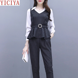 YICIYA black office ladies 2 piece set pant and top elegant women outfit plus size autumn winter clothes Sashes slim bodycon