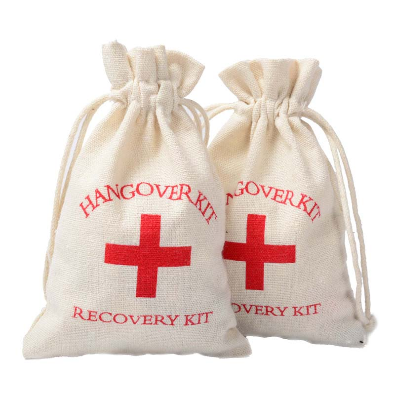 LANWAYLUCKY 10pcs 10x15cm Hangover Kit Bachelorette Party Supplies Cotton Muslin Gift Fabric Pouches First Aid Holder Bags