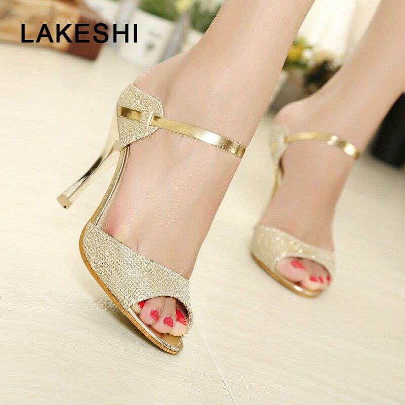 LAKESHI Summer Women Pumps Small Heels Wedding Shoes Gold Silver Stiletto High Heels Peep Toe Women Heel Sandals Ladies Shoes chain