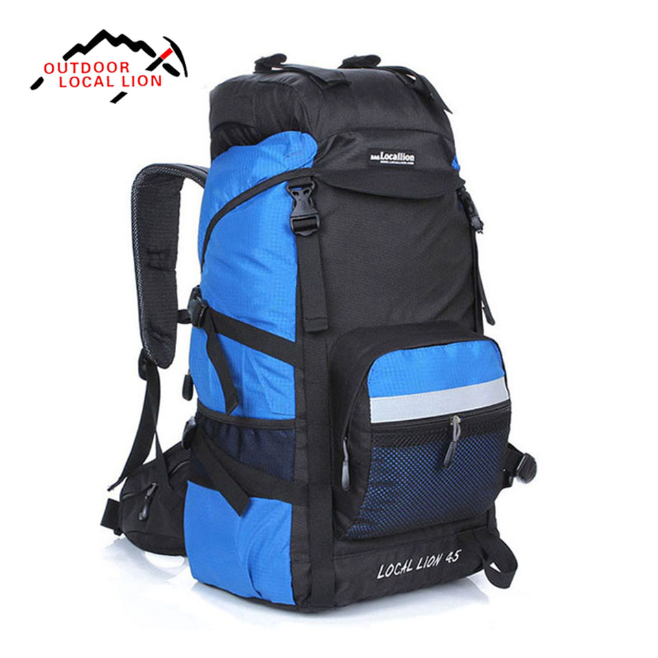 LOCAL LION 45L Climbing Backpack Rucksacks Outdoor Sports Bag Travel Sport Mountaineering Bag Zipper Hiking Backpack Backpacker local lion 35l outdoor mountaineering backpack women men waterproof nylon climbing hiking rucksac travel backpack mochila xa11wa