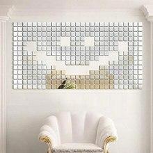Hot  New 100pcs 2x2cm Acrylic 3D Mural Wall Sticker Mosaic Mirror Effect Room DIY drop shipping