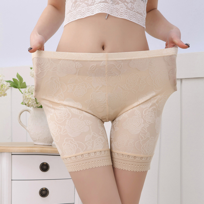 New ice silk lace safty high waist pants lady short leggings plus XL Leggings pants women clothing trousers 8AA149