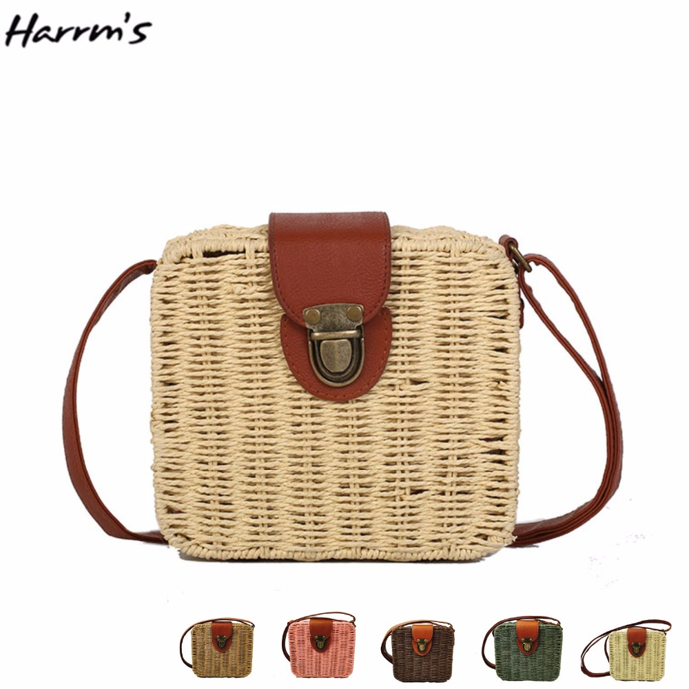 HOT Candy Color Beach Bag Travel Handmade Women Straw Bag Sweet Hot Casual Holiday Crossbody Bag Vintage Handbags Birthday Gift