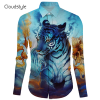 Cloudstyle M 2XL Ou code mens cotton shirts Tiger long sleeved shirt kung fu and dress shirts fashion design wedding clothes