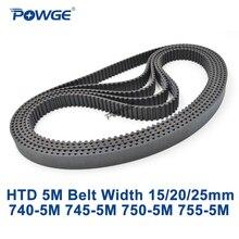 POWGE HTD 5M zahnriemen C = 740/745/750/755 breite 15/20/ 25mm Zähne 148 149 150 151 HTD5M synchron Gürtel 740 5M 750 5M 755  5M