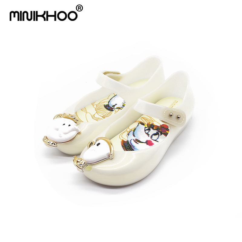 Mini Melissa Teacup Jelly Sandals 2018 New Melissa Kids Jelly Sandals Beauty Beast Girls Shoe Jelly Sandals Non-slip Girls Shoes