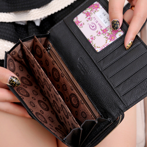 Image 5 - Qianxilu מותג 3 לקפל עור אמיתי נשים ארנקים מטבע כיס נשי מצמד נסיעות ארנק Portefeuille פאטאל cuir