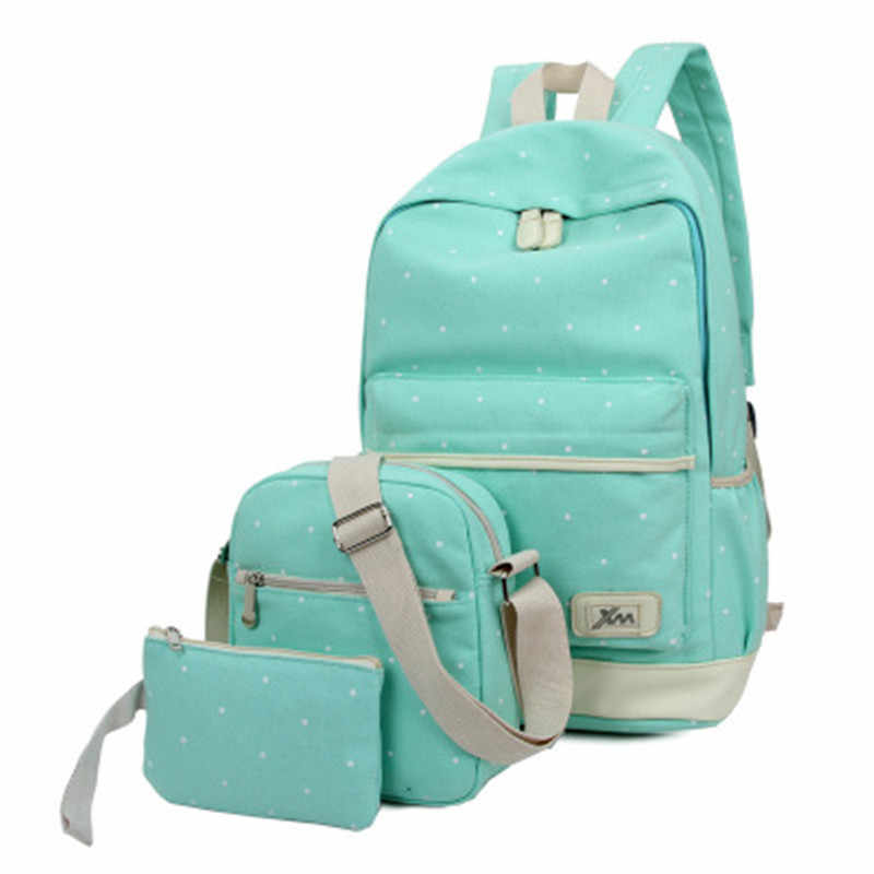 cf56378a906 3Pcs Set Fresh Canvas Women Backpack Big Girl Student Book Bag with Purse  Laptop Bag High