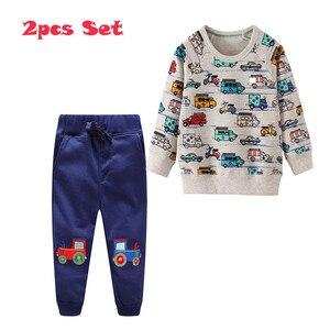 Image 4 - กระโดดเมตร Applique เสื้อผ้าเด็กชุดกางเกงขายาว + เสื้อผ้าฝ้ายรถยนต์ 2 ชิ้นชุดสำหรับฤดูใบไม้ร่วงฤดูหนาวชายชุดสูท