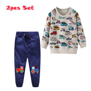 Image 4 - Jumping Meters Applique Baby Clothing Sets Sweatpants + Sweatshirts Cotton Cars 2 pcs Sets For Autumn Winter Boys Outfits Suits