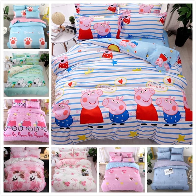 Pink Pig Pattern Stripe Duvet Cover Bedsheet Pillowcase 3/4 pcs Bedding Set Kids Child Cotton Soft Skin Fabric Bed Linen 150x200