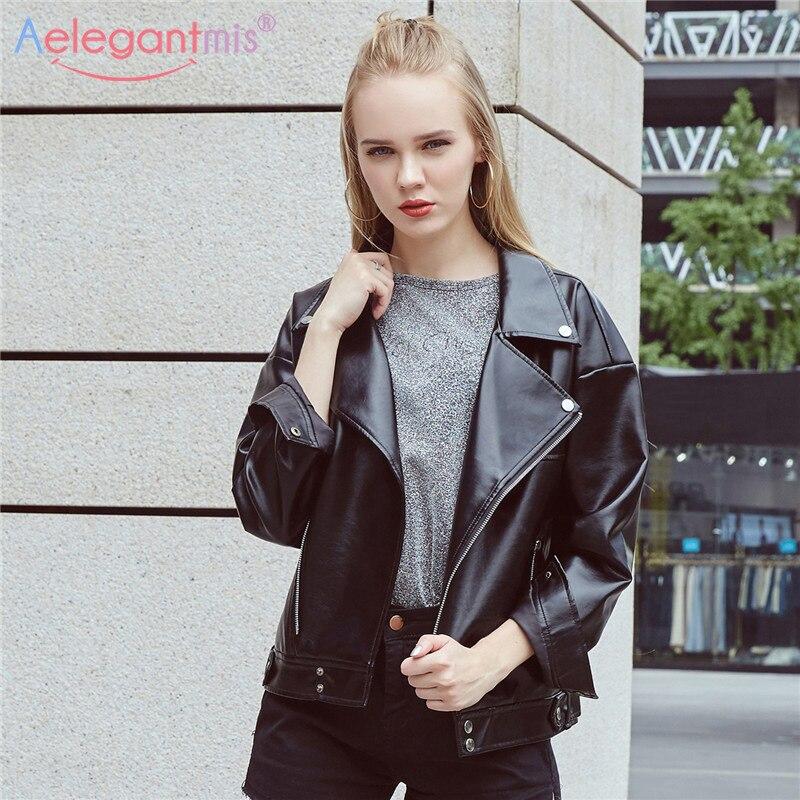 Detalle Comentarios Preguntas sobre Aelegantmis 2018 nueva marca suave PU  Faux chaquetas de cuero mujer motociclista suelta chaqueta negra mujer  primavera ... 90a9c840461